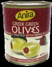 Греческие оливки зеленые начиненные паприкой т. м. ANIRA